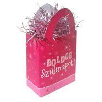 Léggömbsúly, nehezék 120g ajándéktasak forma, rózsaszín, Boldog Szülinapot, 25272