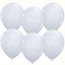 """QUALATEX 11"""" (28cm-es) -  25db/csomag - Sok boldogságot!, diamond clear, kristálytiszta, átlátszó, esküvői lufi, 60635dc"""