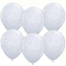 """QUALATEX 11"""" (28cm-es) -  25db/csomag - Sok boldogságot!, diamond clear, kristálytiszta, átlátszó, esküvői lufi, q60635dc"""