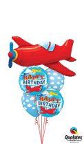 Héliumos luficsokor szülinapra, repülő, airplane Happy Birthday - INGYENES KISZÁLLÍTÁSSAL